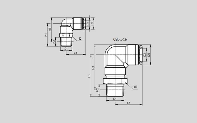 Dimensões Conexão Pneumática Cotovelo QSL-1/8-4 FESTO Pahc Automação
