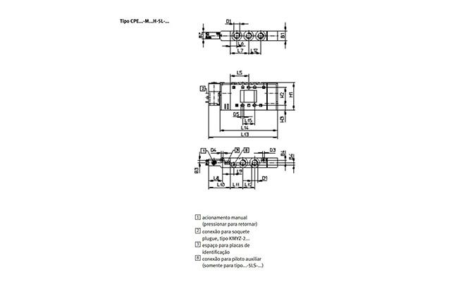 Dimensões Válvula Solenoide CPE14-M1BH-5L-1/8 FESTO
