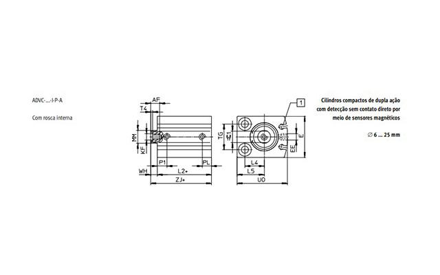 Dimensões Cilindro Pneumático ADVC FESTO PAHC Automação