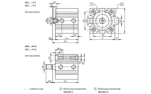 Dimensões Cilindro Pneumático AEVC FESTO PAHC AUTOMAÇÃO