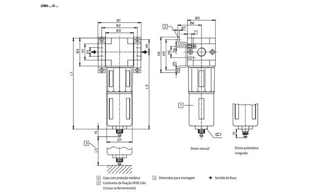 Dimensões Filtro Coalescente LFMA-1/4-D-MINI-A FESTO PAHC Automação