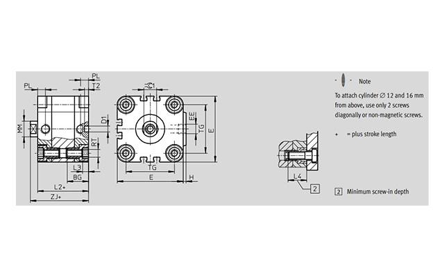 Dimensões Cilindro Pneumático ADVU PAHC Automação
