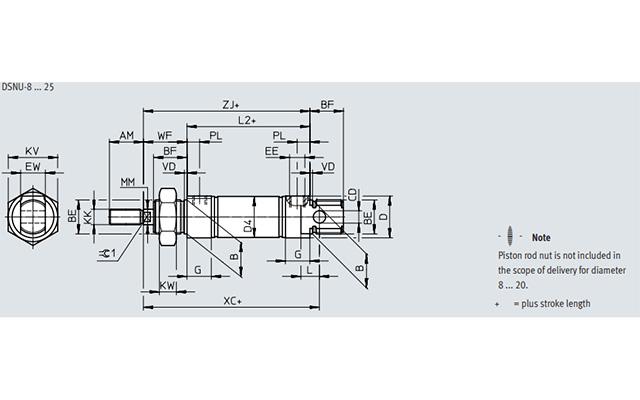 Dimensões Cilindro Pneumático DSNU FESTO PAHC Automação