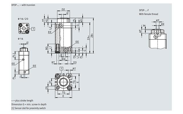Dimensões Cilindro de Parada DFSP FESTO PAHC Automação