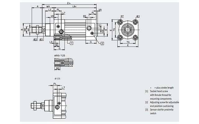 Dimensões Cilindro Pneumático DSBC-63-150-PPVA-N3 FESTO PAHC Automação