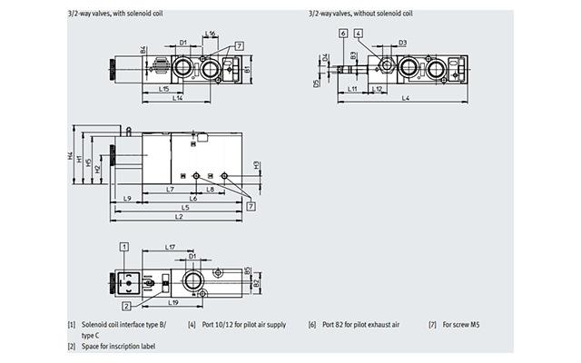 Dimensões Válvula Solenoide VUVS-L30-B52-D-G38-F8 FESTO PAHC Automação
